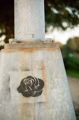 56690024 (alexdotbarber) Tags: slr rose analog 35mm stencil bokeh f2 1125 colornegative minoltaxe7 houstonstreetart minolta50mmf14 houstoneastend minoltamcrokkorx50mmf14 kodakgold200at100