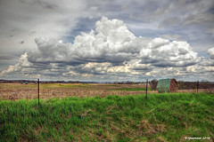Spring Field_160605 (rjmonner) Tags: blue sky green nature rural fence spring farm country gray iowa symmetry agriculture bales agronomy jacksoncounty easterniowa springclouds fencefriday