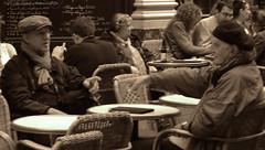 Philippe Vandendriessche.Jean-Pierre Beauviala (Natali Antonovich) Tags: camera friends brussels portrait monochrome cafe artist photographer belgium belgique belgie thinker lifestyle talk style stare inventor genius gesture relaxation engineer terras philosopher reverie aaton mokafe sthubertgallery sweetbrussels philippevandendriessche jeanpierrebeauviala magicianfriendcamera