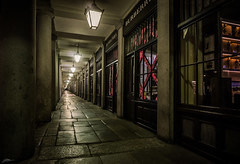 Night at Covent Garden (ScottSimPhotography) Tags: city travel england urban london night buildings dark lights vanishingpoint noir cityscape nightscape market empty sony central arcade columns wideangle arches eerie shops coventgarden deserted a6000