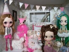 Celebration..... (simplychictiques) Tags: pink toys celebration fantasia blythe pinkpalace cossette shabbychic nixie pumpkinbelle effluocustom ooakblythedolls kaleidescopekustom violetpiekitty gbabydollscustom olivia~valentina
