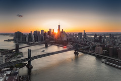 Lower Manhattan sunset with FlyNYON (Andrew Thomas 73) Tags: world nyc bridge sunset newyork brooklyn river photography one manhattan centre aerial east trade flynyon