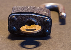 Lock and Key (Den's Lens 2000) Tags: macro key lock padlock flickrfriday