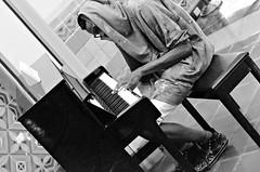 Midnight Talent (Pedestrian Photographer) Tags: bw white playing black guy station 50mm union piano april 50 apr ribbet 2016 unionstationla dsc1561 dsc1561b