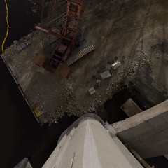 Earthward Crane (Dr Magnus) Tags: bridge light moon rock river construction crane boom pylon full cables balconies restoration onsite foreground truss