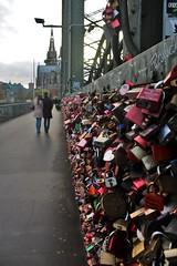 Cologne - Bridge Love Locks (phil_king) Tags: bridge sunset love germany deutschland evening couple cathedral dom cologne railway kln locks koeln padlocks hohenzollern lovelocks