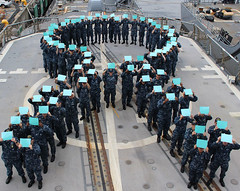 Sailors aboard USS Chancellorsville commemorate sexual assault prevention month. (Official U.S. Navy Imagery) Tags: japan yokosuka
