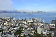 San Francisco bay as seen from Coit Tower. Alcatraz Island in the far (Mikhail Zhidko) Tags: california travel bridge usa tower skyline island golden bay gate san francisco view alcatraz coit