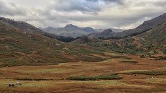 Blea Moss and Langdale Pikes from Wrynose Pass (jurassicjay) Tags: uk greatbritain england mountain mountains landscape scenery unitedkingdom north lakedistrict valley cumbria gb langdale wrynosepass langdalepikes bleamoss