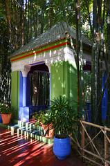 Pavilion / Jardin Majorelle (Images George Rex) Tags: shadow architecture ma bamboo morocco marrakech pavilion marrakesh moucharabieh jardinmajorelle majorellegarden arabandalusian imagesgeorgerex photobygeorgerex arabandalucian