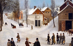 Francis Guy, Winter Scene in Brooklyn (detail), 1820 (profzucker) Tags: street city nyc newyorkcity winter snow newyork guy art brooklyn painting landscape dock cityscape american coal sleigh federalist stanns 1820 americanart saintannschurch francisguy