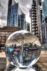 Inner World (Tryppyhead) Tags: reflection london sphere hdr cityoflondon escheresque lloydsbuilding nikond5000