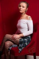 Cassandra (austinspace) Tags: red portrait woman studio washington model spokane room blond blonde backdrop alienbees