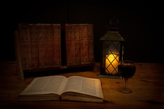 Tome (Johnny_7) Tags: stilllife glass book candle wine books lantern encyclopedia tome