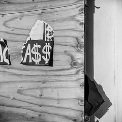 A$$ (robert schneider (rolopix)) Tags: california ca blackandwhite bw building texture 120 6x6 film monochrome sign mediumformat square closed kodak geometry tx patterns trix 400tx calif eastbay greatwall 90mm alameda outofbusiness urbanlandscape handbill a df4 120620 robertschneider autaut bwfp believeinfilm rolopix