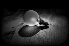 """Shadows"" - Week 05/52 (CAMRA Man ...) Tags: wood light shadow blackandwhite stilllife glass monochrome lightbulb bulb dark knot simple headtorch canon50mm canon70d 52weeksthe2016edition week52016 weekstartingfridayjanuary292016"
