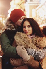 (slznv) Tags: winter portrait love girl beauty fashion contrast hair happy lights couple colours photoshoot natural bokeh moscow details illumination style together shooting hugs lovestory  helios         helios442        canoneos600d