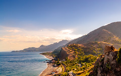 View on Taormina (D.ROS) Tags: 2015 italie sicilie buitenland vakantie sicily taormina hills sea blue green yellow red sky clouds italy beach bush ionian letojanni