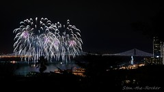 View from Coit Tower - Bay Lights Re-Lighting and Super Bowl City Fireworks Show - 013016 - 15 (Stan-the-Rocker) Tags: sanfrancisco sony coittower northbeach embarcadero ferrybuilding telegraphhill nex sanfranciscooaklandbaybridge sfobb sb50 baylights sel1855 stantherocker