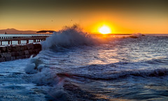 Waves at Sunrise (ScorpioOnSUP) Tags: ocean california morning sea sky seagulls lighthouse cold beach wet clouds sunrise rocks waves wind ships windy foam chilly february southerncalifornia gusty oceanview sanpedro breakwater gust elnino splashes breakingwaves 2016 angelsgate oceanbreeze santiagopeak graniteblocks tallwaves cabrillobeachpier losangeleslighthouse
