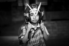 Boy Bangkok (siebe ) Tags: street portrait blackandwhite bw monochrome thailand photography blackwhite child bangkok helmet streetphotography photojournalism documentary thai streetphoto 2016 pratunam      siebebaardafotografie