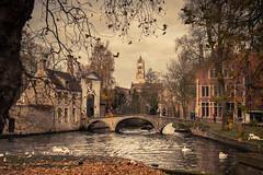 The Timeless Charm of Bruges... (Gilderic Photography) Tags: bridge autumn church water automne canon belgium belgique belgie brugge pont bruges minnewater 500d gilderic