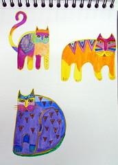 Cats, by Cacá - DSC02487 (Dona Minúcia) Tags: cute art illustration cat watercolor painting paper indonesia toy brinquedo arte study gato fofo ilustração pintura aquarela enfeite gracinha