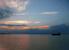 Peaceful sunset (NataThe3) Tags: sunset sky sun seascape nature bay boat waves peace nj peaceful longbeachisland waterscape beachhaven