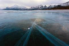Abraham Lake Ice (Edmonton Ken) Tags: blue winter lake mountains ice water beautiful abraham alberta cracks