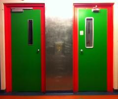 Rebk Spark Kollegiet (1977) (annindk) Tags: doors housing lifts hvidovre