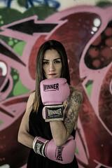 Winner (Mystique154) Tags: pink portrait woman tattoo graffiti mujer rosa retratos winner deporte boxing lucha tatuajes blackdress guantes boxeadora boxeo ganadora vestidonegro canonef50mm18ii