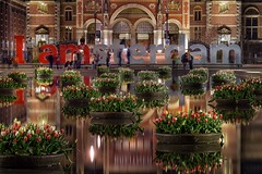 I Amsterdam (karinavera) Tags: street city longexposure travel flowers urban water netherlands amsterdam museum night iamsterdam tulips letters rijksmuseum nikond5300