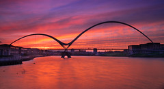 Infinity Bridge Stockton (Brottonblade1889) Tags: bridge sunset river infinity millennium stockton tees teeside