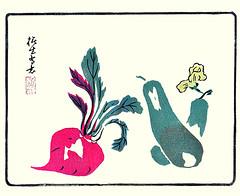 Cucumber and radish (Japanese Flower and Bird Art) Tags: flower art japan japanese book cucumber picture radish nagasaki woodblock cucurbitaceae tsubaki raphanus brassicaceae sativus nanga cucumis chinzan readercollection