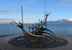 longboat.............. (patrick l clinton) Tags: sea sky snow cold reykjavik enjoy longboat viking