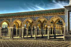 Mausoleum of Habib Bourguiba (peterschneider608) Tags: africa travel blue orange architecture nikon d70 tunisia architektur afrika blau hdr reise tunesien habib monastir bourguiba photomatix darktable