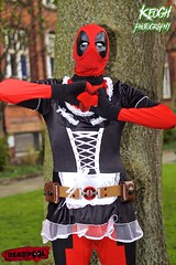 IMG_8802 (Neil Keogh Photography) Tags: red brown white black male gun dress mask boots cosplay coat skirt gloves cosplayer bodysuit marvelcomics utilitybelt deadpool frenchmaidsoutfit nwcosplaymeet2016