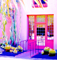 carried away by color (nolleone--Nol, like Christmas) Tags: california pink blue windows light summer cactus house hot reflections magenta doorway mansion railing palmleaves hss slidersunday