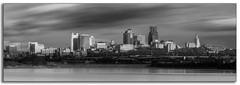 Kansas City (Jon Dickson Photography) Tags: city longexposure blackandwhite bw water skyline clouds river exposure dramatic kansas kc drama