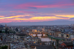 Michelangelo Sunset (smithmakaay) Tags: city travel bridge light sunset sky italy cloud color skyline architecture river florence outdoor 85mm landmark lonelyplanet michelangelo ef pontevecchio projectweather
