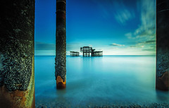 Brighton West Pier through 3 pillars (KVH-P) Tags: uk sunset sea beach water clouds sussex pier lowlight nikon brighton waves seascapes westpier slowshutter eastsussex sigma1020mm 2016 travelphotography gitzotripod brightonwestpier leefilters sussexlandscape beacheslandscapes d7000 cloudsstormssunsetsandsunrises nikond7000 sussexseascape