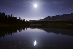 Pristine (John Andersen (JPAndersen images)) Tags: trees moon lake mountains night clouds reflections aurora bowvalleypark