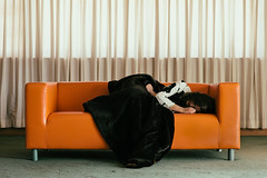 Untitled (15/15) (Erik D Robinson) Tags: light woman house abandoned broken girl beauty fashion contrast happy model sad makeup couch story 70s conceptual narrative styling redemption emilymcney