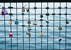 Riverbank Keepsake Locks  5 of 5 (Orbmiser) Tags: oregon fence portland spring nikon lock riverbank willametteriver keepsakes padlocks d90 eastsideesplanade 55200vr