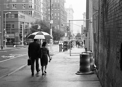 Rainy Date (Brian Gilbreath) Tags: street nyc newyorkcity blackandwhite bw love monochrome brooklyn umbrella 35mm photography couple streetphotography dumbo rainy photograph 35mmfilm date