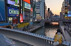 Dotonbori Canal @ Dusk (jpellgen) Tags: travel sunset japan japanese canal spring nikon dusk sigma  nippon osaka namba kansai nihon shinsaibashi dotonbori glico nanba   kinki 2016 1770mm d7000