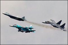 Sukhoi T-50 + Su-34 + Su-35S (Pavel Vanka) Tags: plane airplane fly flying fighter russia moscow jet spot formation airshow planes stealth missile spotting weapons platypus fifth armed maks sukhoi fullback lii fighterbomber t50 5thgeneration su34 formationflight ramenskoe zhukovskiy russianairforce sukhoit50