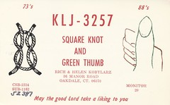 Square Knot & Green Thumb - Oakdale, Connecticut (73sand88s by Cardboard America) Tags: vintage connecticut rope thumb qsl cb cbradio qslcard