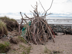 Driftwood shelter 3 (allybeag) Tags: beach coast sticks sand branches pebbles shore bender shelter temporary solway allonby dubmillpoint