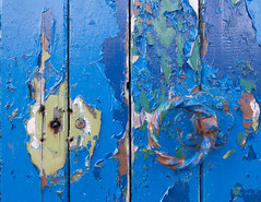 peeling blue paint 01 apr 16 (Shaun the grime lover) Tags: door blue color colour texture square handle warrington gate peeling paint cheshire doorway palmyra